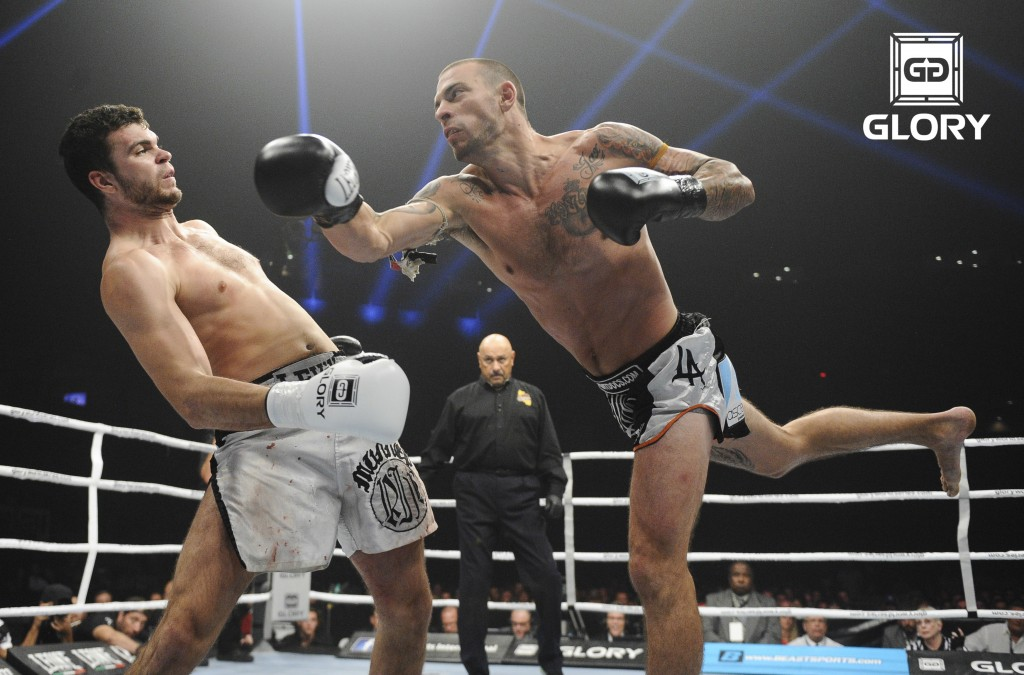 Joe Schilling (right) vs. Artyom Levin at Glory 17 in L.A. on June 21, 2014