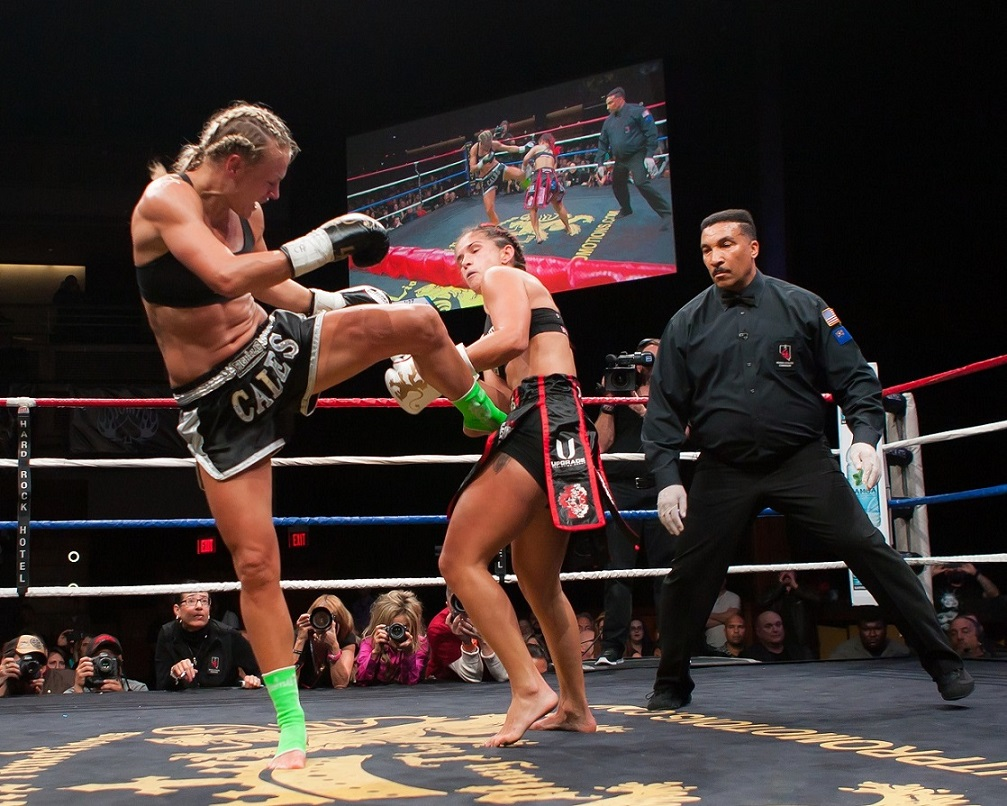 Caley Reece (left) vs. Tiffany Van Soest at Lion Fight XIII on November 2, 2013.  Photo courtesy of Bennie E. Palmore II.