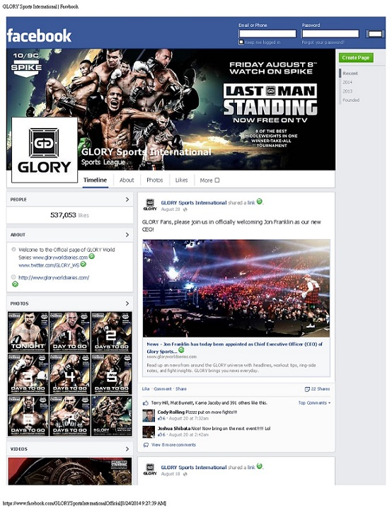 GLORY Sports International Facebook Page