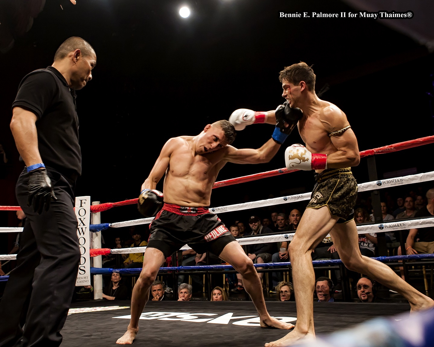 Pedro Gonzales (Redline Fight Sports in Quincy, Massachusetts) def. Nick Chasteen (Best Muay Thai in Tempe, Arizona) by TKO at 2:43 from Physician Stoppage in Round 2.  Professional 148 lbs. Men.  Scheduled for 5 x 3 Rounds.  Photo by Bennie E. Palmore II.
