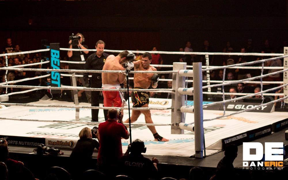 """Bazooka"" Joe Valtellini, right, vs. Marc de Bonte at Glory 17 in L.A. on June 21, 2014"