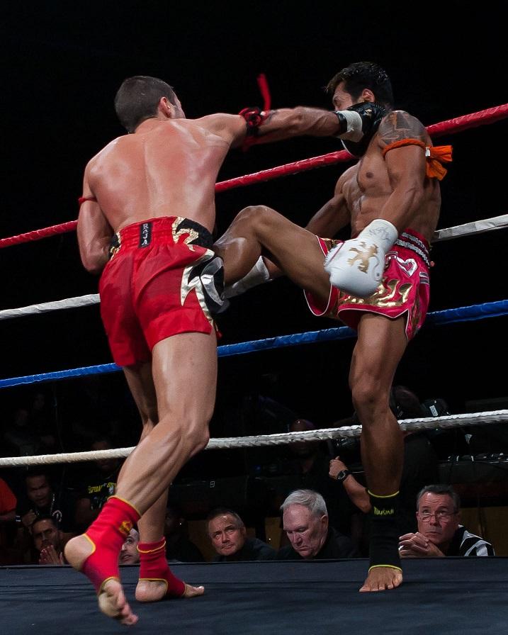 Fabio Pinca (left) vs. Malaipet at Lion Fight XII on February 8, 2014.  Photo courtesy of Bennie E. Palmore II.